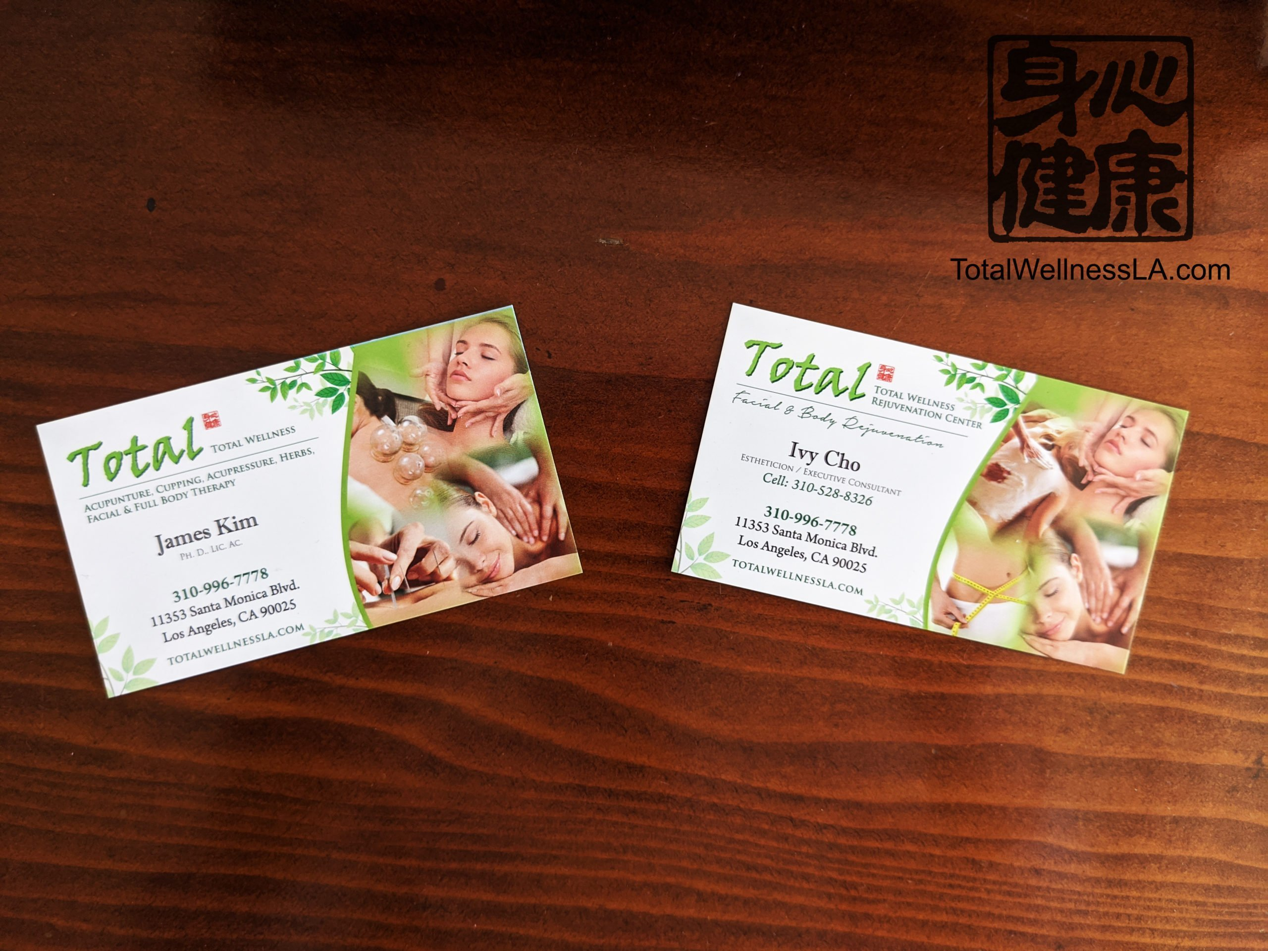Business Cards James Kim Ivy Cho Total Wellness