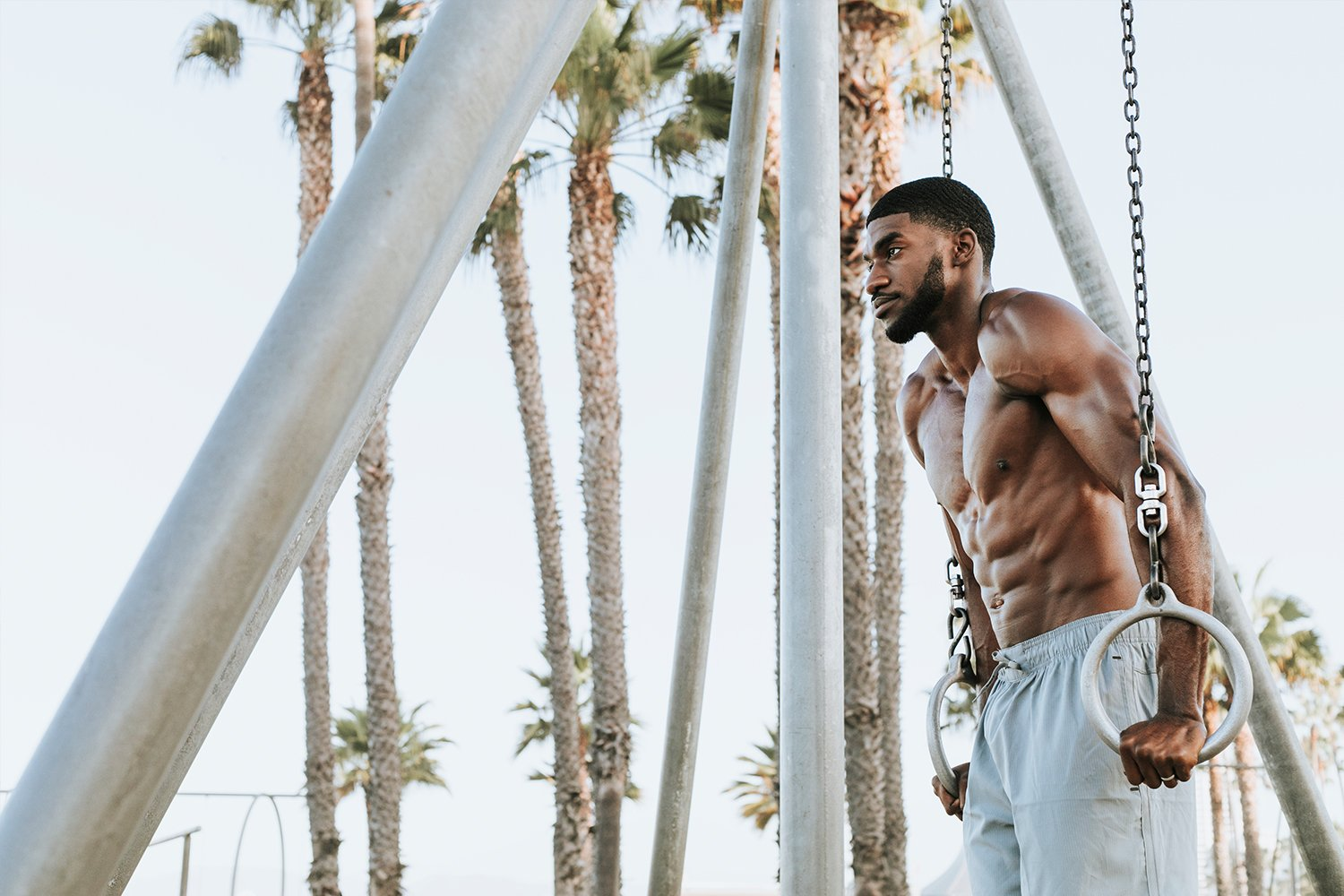 fit man working out on santa monica beach